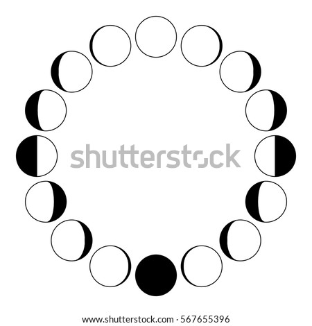 the phases of the moon on a white background simple template the