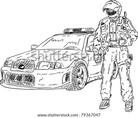 vector - the police man with car isolated on background