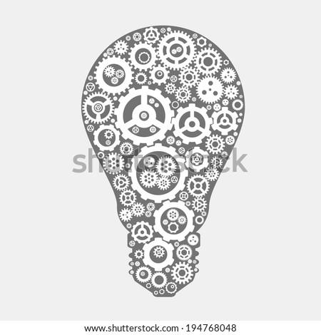vector the symbol ideas (light of gears) - stock vector