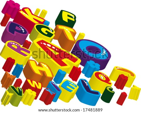 Vector The volumetric elements to your design. Colored letters - stock vector