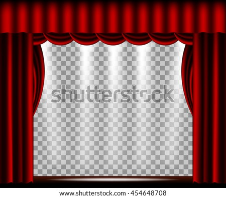 Vector Theater stage with red curtain - stock vector
