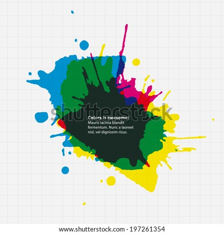 vector thematic template.  Aquarel drop on paper with place for your text. - stock vector