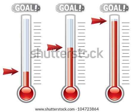 vector thermometers at different levels - stock vector