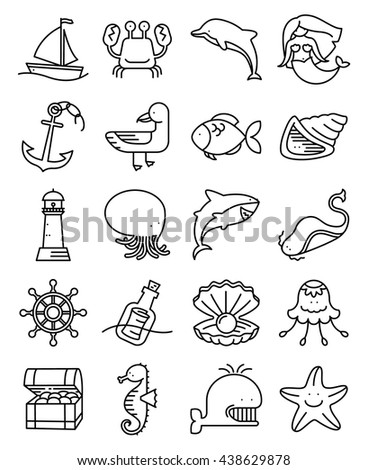 Vector thin and simple line style marine and nautical icons set. Collection with mermaid, whale, octopus, starfish, jellyfish, seagull, fish, dolphin, seahorse, crab, lighthouse, anchor, chest, helm - stock vector