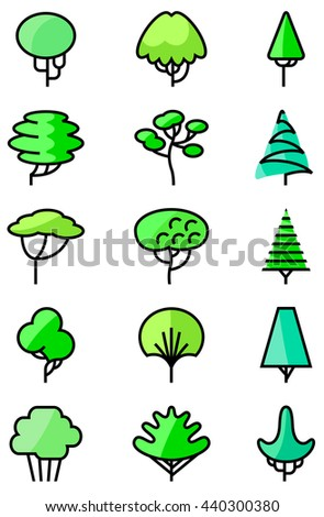 Vector thin and simply line art icons set with trees - stock vector