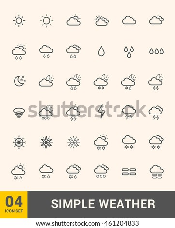 Vector thin icons design set. Weather icons set. Modern simple line icons.Material design. Ultra thin icons on white background. Icon set 4