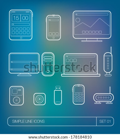 Vector thin icons. Devices icons. Ultra thin icons set. Gadgets - stock vector