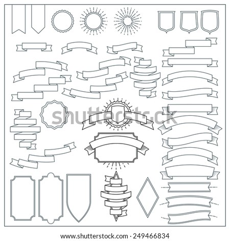 Vector Thin Line Design Elements of retro styled ribbons and banners - stock vector