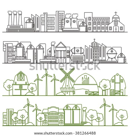 Vector thin line ecology infographic elements. Environmental risks and pollution, ecosystem. Can be used for background, layout, banner, web design, brochure template. Alternative energy - stock vector