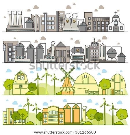 Vector thin line ecology infographic elements. Environmental risks and pollution, ecosystem. Can be used for background, layout, banner, diagram, web design, brochure template  - stock vector