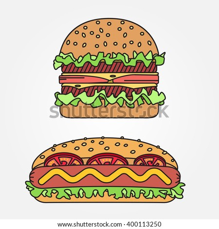 Vector thin line icon  hot dog and burger. For web design and application interface, also useful for infographics. Vector dark grey. Vector illustration. - stock vector