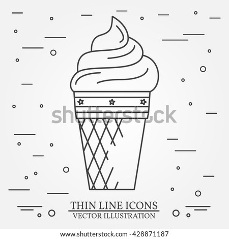 Vector thin line icon ice-cream. For web design and application interface, also useful for infographics. Vector dark grey. Vector illustration.