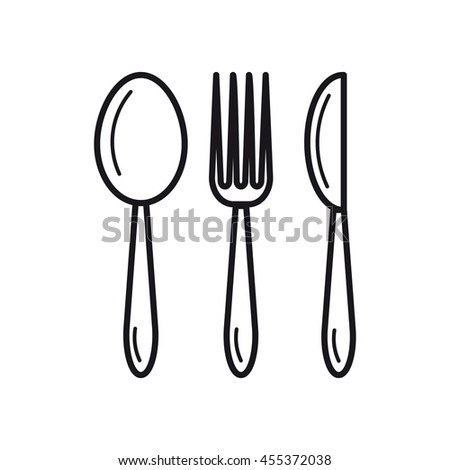 Vector thin line icon of spoon, fork and knife. Concept restaurant or good nutrition