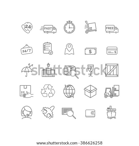 Vector thin line icon set related to shipping, delivery and logistics for your design - stock vector