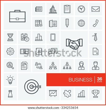 Vector thin line icons set and graphic design elements. Illustration with business and management outline symbols. Marketing research, strategy, service, career, mission, analytics linear pictogram - stock vector