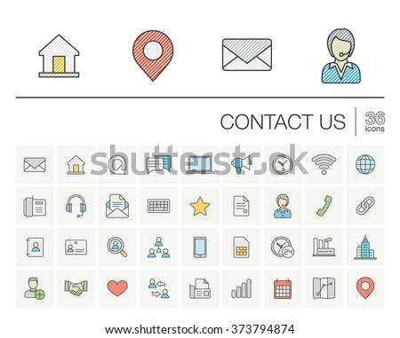 Vector thin line icons set and graphic design elements. Illustration with contact us outline symbols. Communication, home, call, speech bubble, email, letter, envelope, handshake color pictogram - stock vector