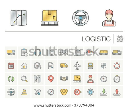 Vector thin line icons set and graphic design elements. Illustration with Logistic, delivery business, distribution outline symbols. Service, export, shipping, transport color pictogram - stock vector