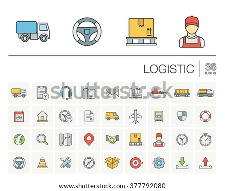 Vector thin line icons set and graphic design elements. Illustration with Logistic, delivery business, distribution outline symbols. Service, export, shipping, transport linear pictogram  - stock vector