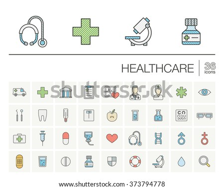 Vector thin line icons set and graphic design elements. Illustration with medical, medicine and healthcare outline symbols. Dentist, health, ambulance, care, doctor, pills, cross color pictogram