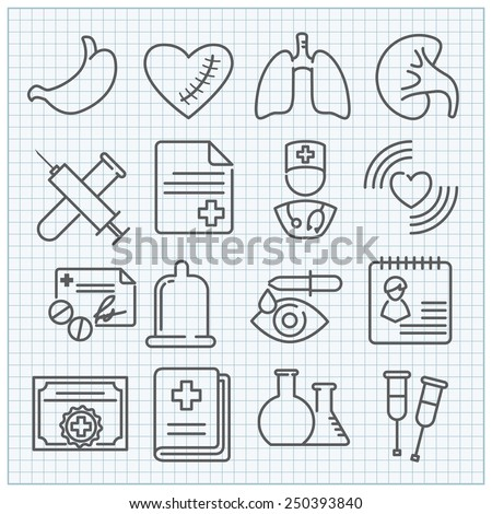 Vector thin line medicine icons set - stock vector