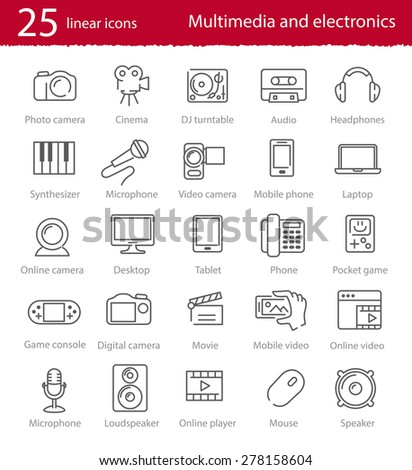 Vector thin line multimedia and electronics icons set - stock vector