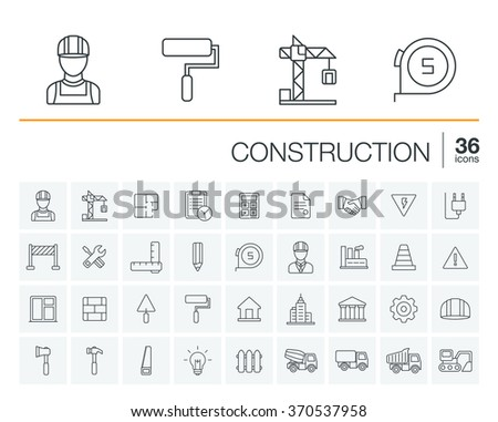 Vector thin line rounded icons set and graphic design elements. Illustration with construction, industrial, architectural, engineering outline symbols. Home repair tools, worker, building pictogram - stock vector