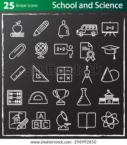 Vector thin line school, education and science icons set for web design and infographics