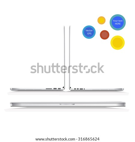 Vector Thin Silver Laptop (white aluminium body) with a shadow and text circles isolated on white background. Computer is in closed position; Computers  are in open positions, left and right view. - stock vector