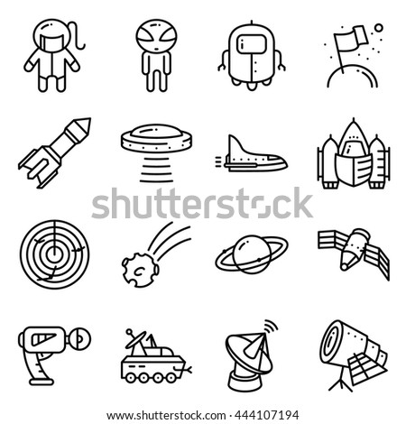 Vector thin simply space icons set with technology and expedition, UFO and alien, robot, astronaut, shuttle, rocket, radar, comet, planet, telescope, blaster, satellite in cute minimalistic style - stock vector