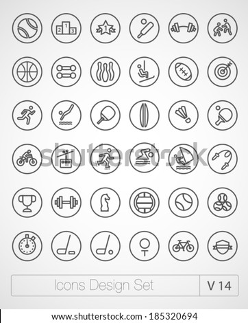 Vector thin sport icons design set. Moder simple line icons. Ultra thin icons on white background. Volume 14 - stock vector