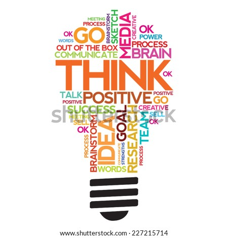 Vector THINK words bulb shape / cloud - stock vector