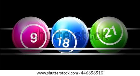 Vector Three Bingo / Lottery Number Balls Set on Cage - stock vector
