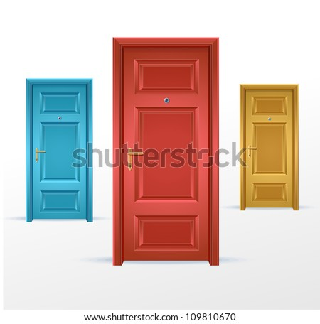 Vector three doors, blue, red and yellow - stock vector