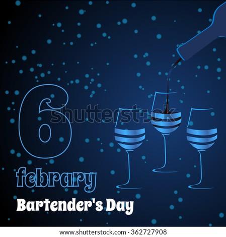 Vector three glasses. Dark blue bartender's Day card. - stock vector