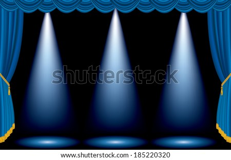 vector three spots on empty blue stage - stock vector