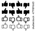 vector thumbs up set - stock vector