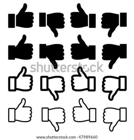 vector thumbs up set - stock vector