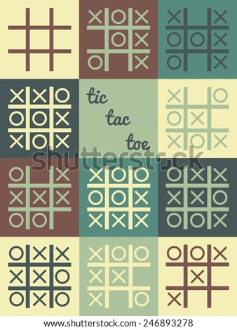 Vector tic tac toe game with all combinations and variants - stock vector