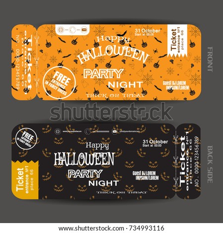 Vector Ticket To Happy Halloween Night Party With White Text On The Yellow  And Brown Background
