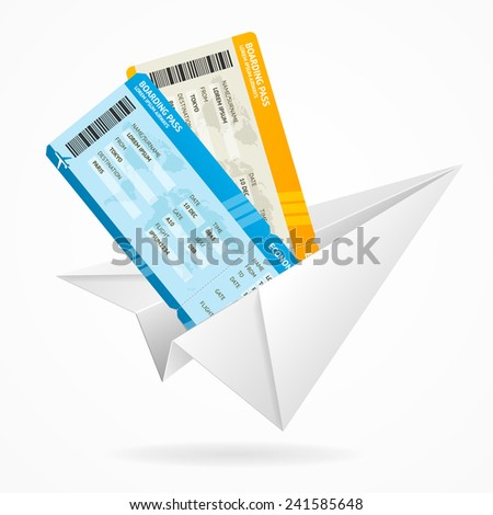 Vector tickets and paper plane, travel concept isolated on white - stock vector