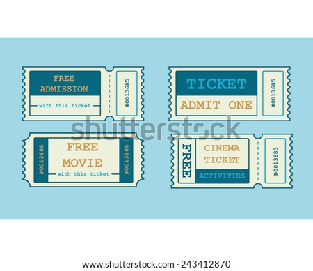 Vector tickets in flat style - stock vector