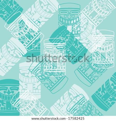 vector tiki god turquoise pattern - stock vector