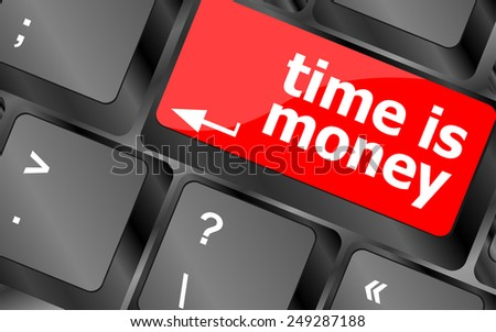 vector Time concept: computer keyboard with word Time is Money - stock vector