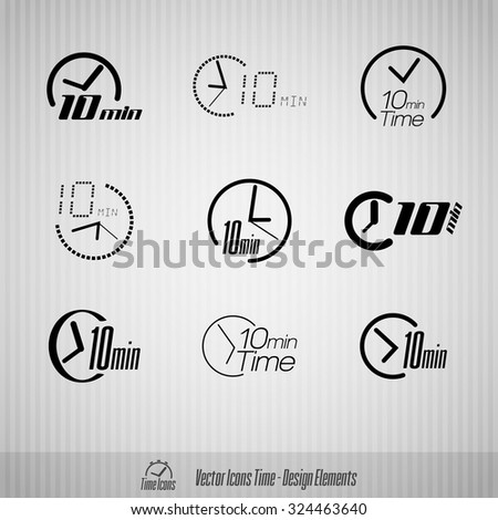 Vector time icons. 10 minutes symbols. Design elements. - stock vector