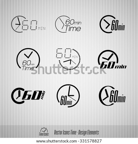 Vector time icons. 60 minutes symbols. Design elements.