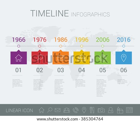 Vector timeline info graphic with world map - stock vector