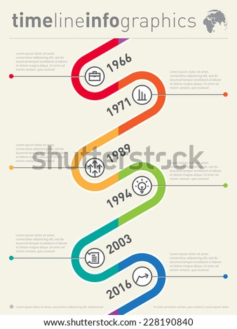 Vector timeline infographic. Business graphic elements. Design template - stock vector