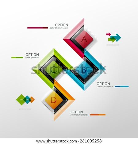 Vector timeline infographic template. Design elements for presentation or web design. - stock vector