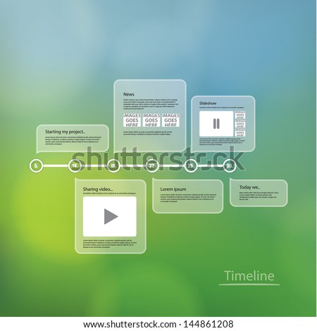 Vector timeline template. Layout with much space for your content. Elements for your website or presentation. Sizable and editable friendly. Fresh, modern design. - stock vector