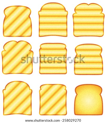 vector toasted bread slices - stock vector